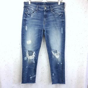 Mother The Dropout Fray Reckless Wash Jeans 29